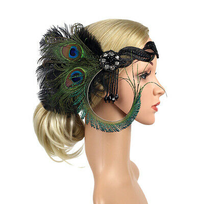 Peacock Feather Fascinator Hair Clip Headband Party Headpiece Bridal Headdress