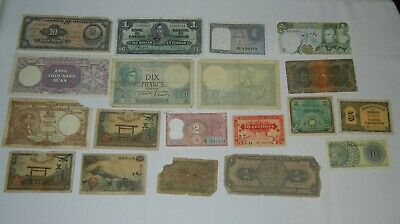 Lot of 19 OLD Foreign Currency Mixed Lot World Paper Money Dollar Bills