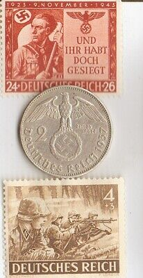 """*2-*RARE Stamps of *WW2-+*german  SILVER EAGLE coin-""""SS""""-Machinegunners Commando"""