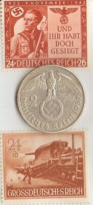- *2 - *RARE Stamps  of *WW2- +*german  SILVER EAGLE coin
