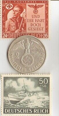 """*2-*RARE Stamps of *WW2- +*german  SILVER EAGLE coin-""""Patrol Boat"""""""