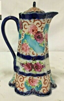 Old Chinese Export Porcelain Covered Tea Pitcher enamel decor Flowers Signed
