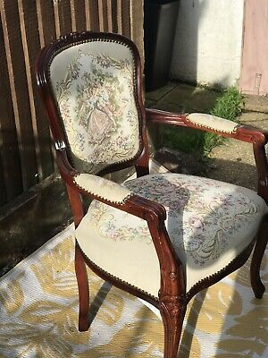 Louis Xv Style French Carved Wood And Tapestry Upholstered Armchair