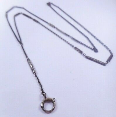 Antique Victorian Y-Shape Sterling Silver Chain Necklace for Locket Watch etc