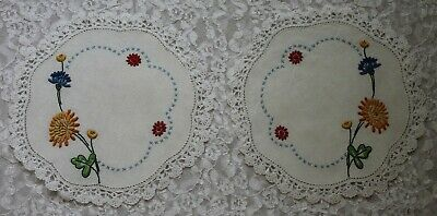 Small Vintage Pair Embroidered Floral Linen Doilies