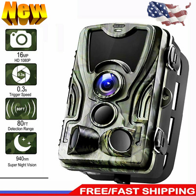 16MP HD 1080P Hunting Trail Camera Video Wildlife Scouting IR Night Vision Cam
