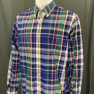 Ralph Lauren Custom Fit Multi-Colored Button Front Long Sleeve Plaid Shirt Large