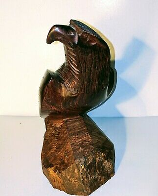 Hawk Falcon Eagle Carving Dark Wooden Statue Iron Wood Carved Standing Bird 10""