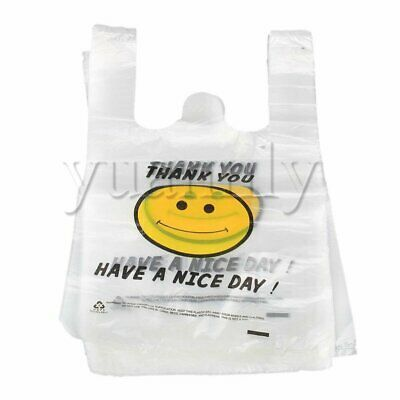 100pcs White S Plastic Singlet Grocery Shopping Checkout Bags 19.5 x 30cm