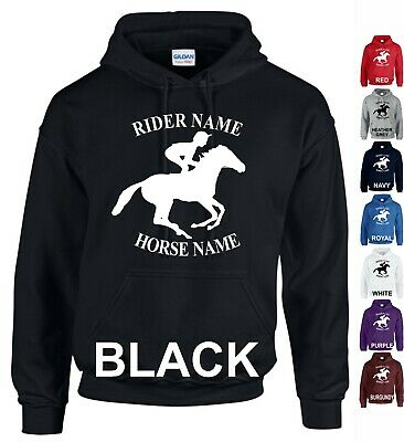 Personalised Riders Hoodie Horse Riding Unicorn Adults Kids Boys Girls Jumper
