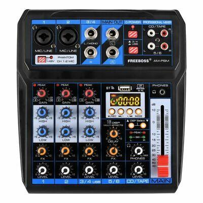 Audio Mixer 16 Effects DC 5V USB Interface 6 Channel 2 Mono 2 Stereo