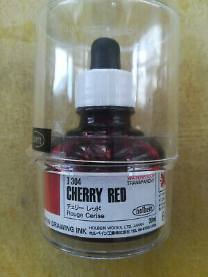 Holbein Drawing Ink- Regular Cherry Red(Transparent) 1oz (30ml) Bottle new