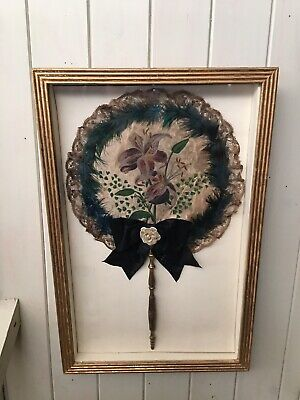 ANTIQUE 19th CENTURY SILK FEATHER HAND PAINTED HAND HELD FAN in Gold Case Frame
