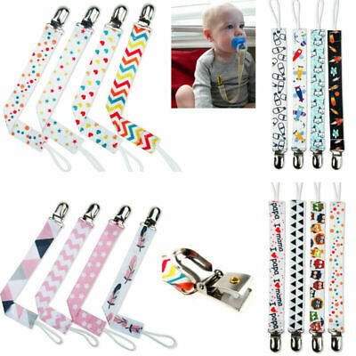 4* Baby Infant Dummy Pacifier Soother Clips Chain Holder w/ Band Strap UK Seller