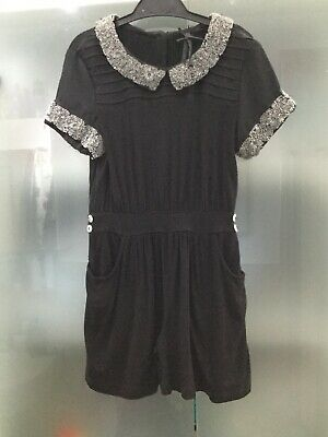 Next Girls Age 5 Black Sequin Collar Jumpsuit Party Outfit