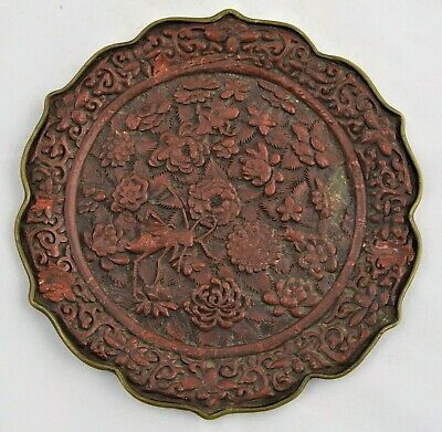 Antique Chinese carved Red Cinnabar lacquer plate. Qing Dynasty