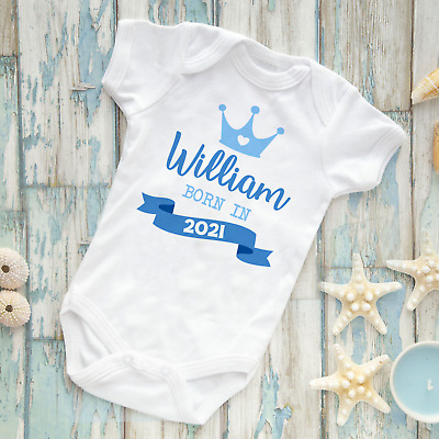 Personalised Born In 2020 Baby Grow Vest Crown Any Name Newborn Gift Pink Blue