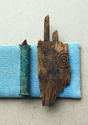 Ancient Viking Broken Wooden hair comb with ornament SOLAR and bronze Brush RARE
