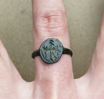 "Ancient Viking Bronze FABULOUS STATUS Ring Ornament ""The sorcerer does the rite"""