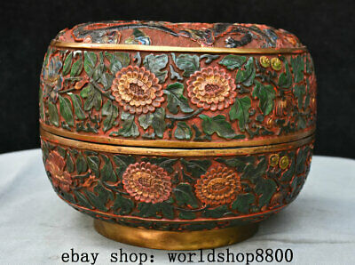 """10.4"""" Marked Old lacquerware Painted Qing Dynasty Double Dragon jewelry Box"""