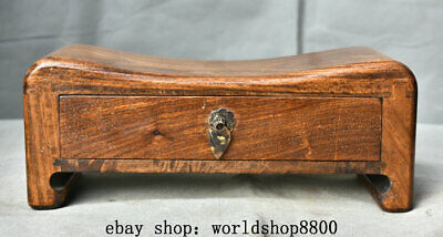 """10"""" Collect Old Chinese Huanghuali Wood Carving Dynasty 1 Drawer Pillow"""