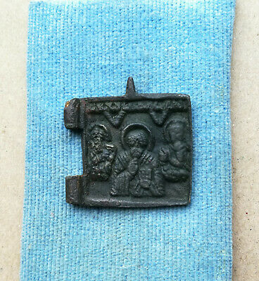 Authentic Medieval Small Bronze Religious Icon With St Nicholas And Saints Rare