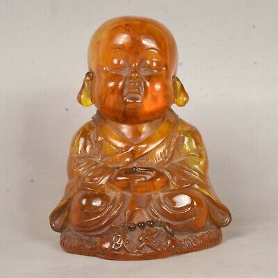 13CM Old China Buddhism Amber Hand Carved Young arhat Monk Buddha Statue