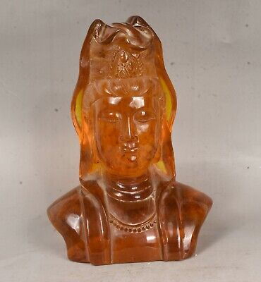 """10.8"""" Marked Old China Amber Temple Carved Guanyin Kwan-yin Head Bust Statue"""