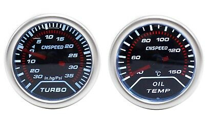 CNS 52mm Smoked Oil Temp & 35 PSI Boost Gauge