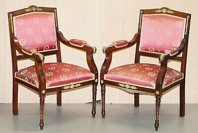 Rare Pair Of French Empire Circa 1880 Napoleon Iii Armchairs Gilt Metal Fittings