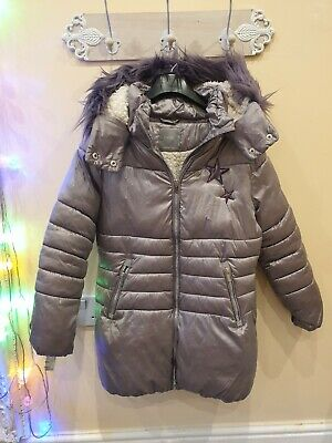 Next Girls Winter Jacket  Age 10 Years  Hooded  With Fur Trim