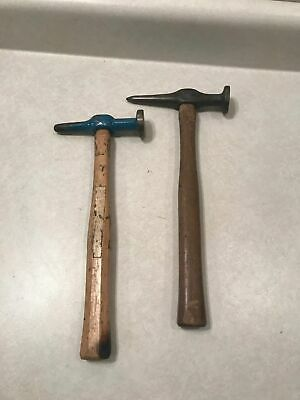 2 Vintage Auto Body Hammers with Wood Handles. Unbranded