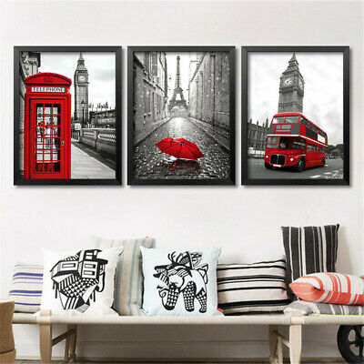 London Cityscape Bus Red Yellow Telephone Canvas Poster Paint Wall Art Decor
