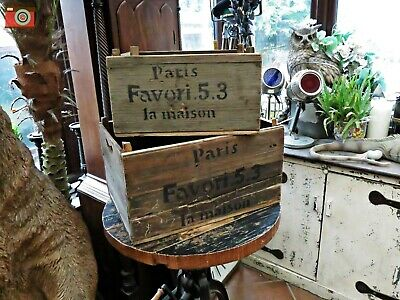 SET OF 2 VINTAGE PARIS LA MAISON CRATES/BOXES. Lovely Vintage Look. Hand Made