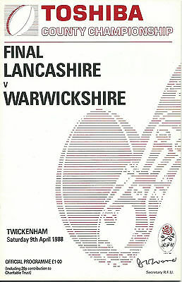 LANCASHIRE v WARWICKSHIRE RUGBY UNION COUNTY FINAL  PROGRAMME 9 APRIL 1988