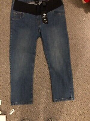 Womens Next Maternity Under Bump Blue Cropped Jeans Uk Size 10 Eu 38