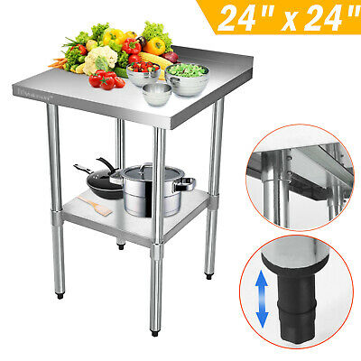 2x2FT Stainless Steel Work Bench Table Commercial Kitchen Top Splash 610X610mm