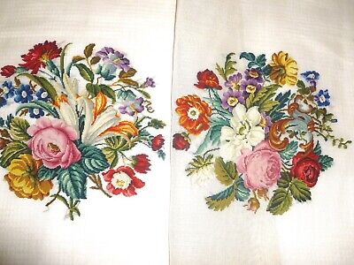2 stunning vintage hand-stitched petit point needlepoint panels floral roses