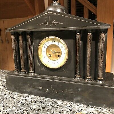 Antique French Mantle Clock , Chimes Black Slate Japy Freres & Cie C:-1850s GWO.