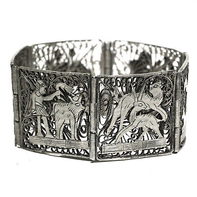 VINTAGE ART DECO EGYPTIAN REVIVAL 6 PANEL Filigree Hallmarked SILVER BRACELET