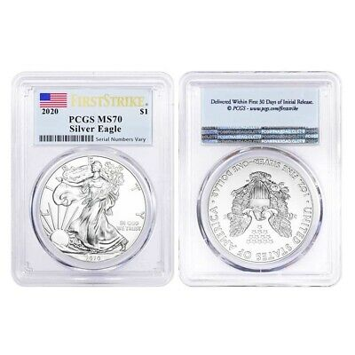 Lot of 2 - 2020 1 oz Silver American Eagle $1 Coin PCGS MS 70 FS (Flag Label)