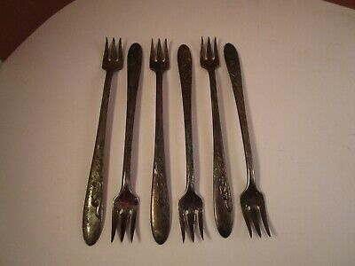 6 Mansfield silverplate Carlton Cocktail Forks One Lot