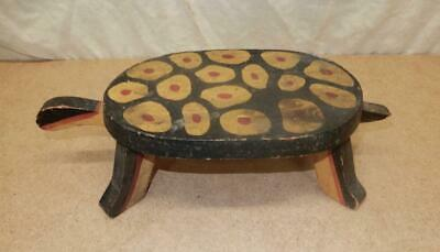 Antique Folk Art Primitive Hand Made Wooden Turtle-Hand Decorated-Great-AAFA