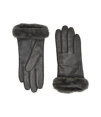 Women's UGG Classic Leather Shorty Tech Gloves Winter Apparel 19033 CHARCOAL
