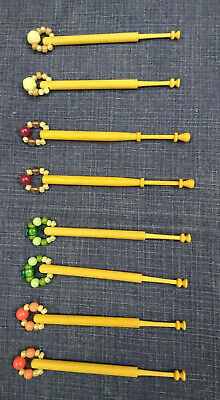 8 Wooden Lace Making Lace Bobbins With Beaded Spangles