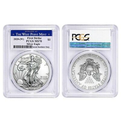 Lot of 2 - 2020 (W) 1 oz Silver American Eagle $1 Coin PCGS MS 70 FS West Point