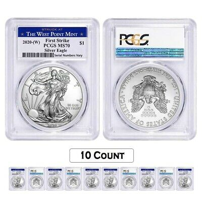 Lot of 10 - 2020 (W) 1 oz Silver American Eagle $1 Coin PCGS MS 70 FS West Point