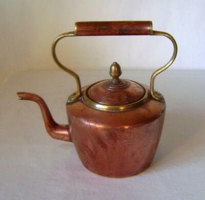 Antique Oval Copper & Brass Kettle:  Tinned Inside  C.1920s Good Condition