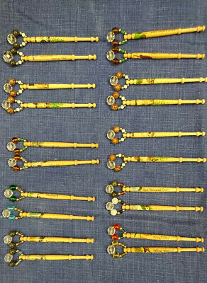 20 Wooden Lace Making Lace Bobbins, Handpainted With Beaded Spangles
