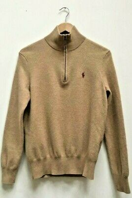 Mens Polo by Ralph Lauren Camel Merino Wool 1/4 Zip Sweater Jumper Size Small